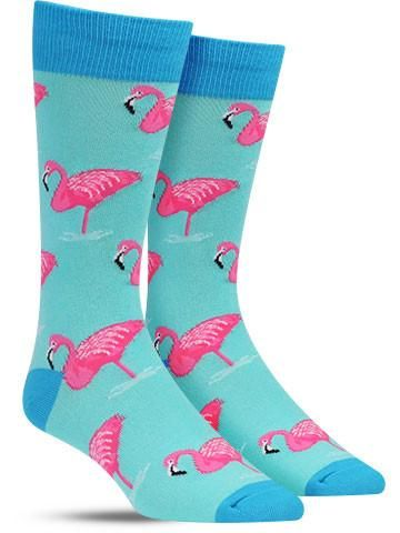 354059a84441 Flamingo Colorful Novelty Socks for Men, Wintergreen Flamingo Art, Pink  Flamingos, Casual Work
