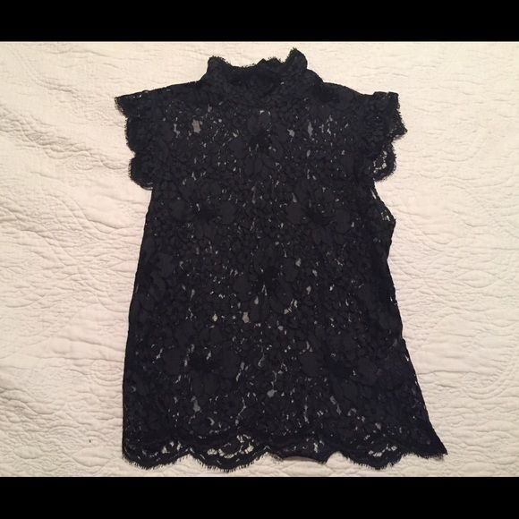 1885cfe5a Burberry Black Lace Top Beautifully made Burberry lace sleeveless top. It  has scalloped detailing and