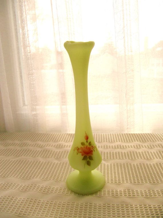 Fenton Custard Glass Bud Vase Hand Painted Artist Signed Yellow