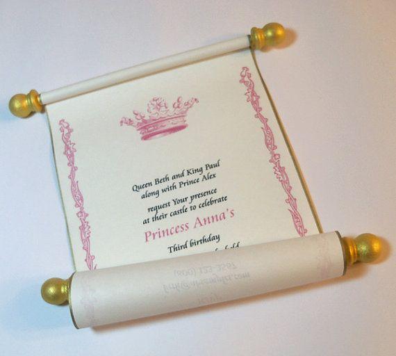 Royal Birthday Party Scroll Invitation For Princess
