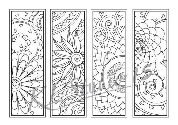 Happy Flower Coloring Bookmarks Page Instant Download Relax Mandala Designs To Color For Adults Coloring Bookmarks Coloring Pages Shape Coloring Pages