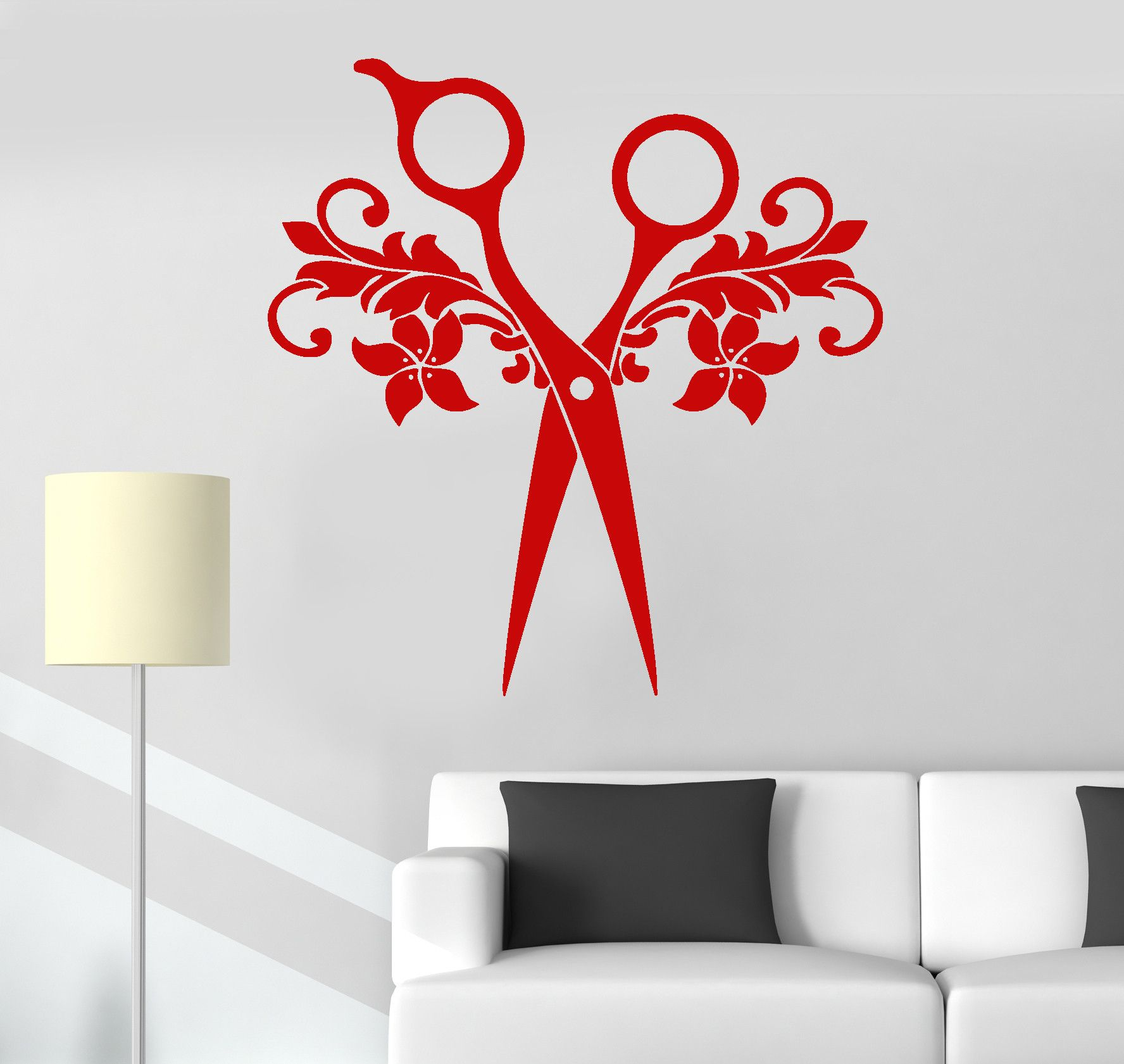 Wall Decal Vinyl Scissors Beauty Salon Hair Barbershop Stickers - Custom vinyl wall decals for hair salonvinyl wall decal hair salon stylist hairdresser barber shop