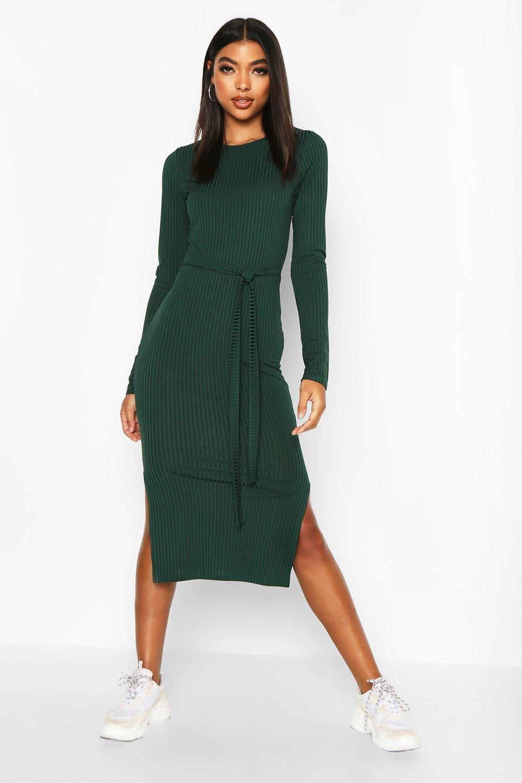 Tall Belted Rib Midi Dress Boohoo Ribbed Midi Dress Midi Dress Clothes [ 1500 x 1000 Pixel ]
