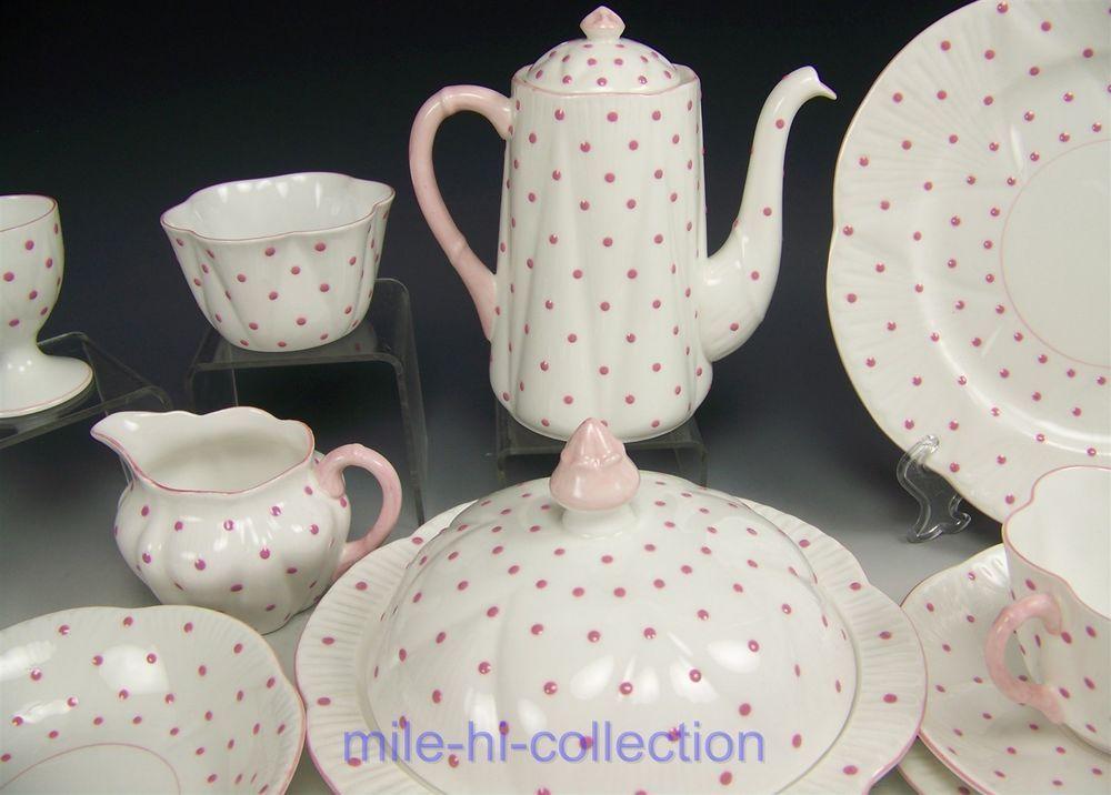 12 Pieces Shelley Dainty Pink Polka Dot Breakfast Set Pot Tea Cup Saucer 13748 Ebay Tazze Da Te Tazze