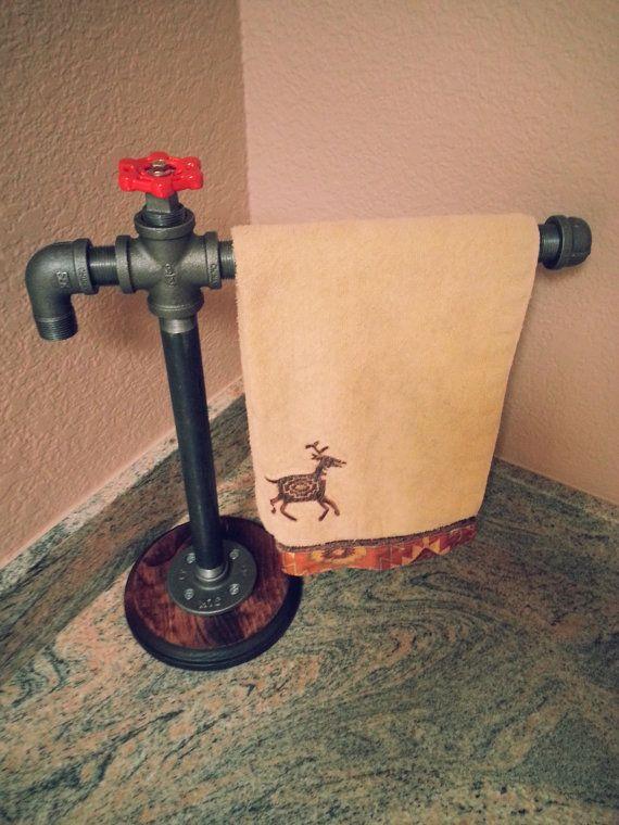 Bathroom Free Standing Hand Towel Rack   Industrial   Modern   Steel Pipe  Bathroom Hand Towel