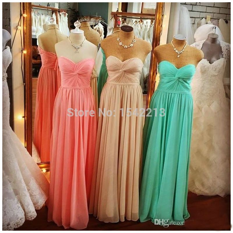 Mint Green Coral Bridesmaid Dress Simple Style Cheap