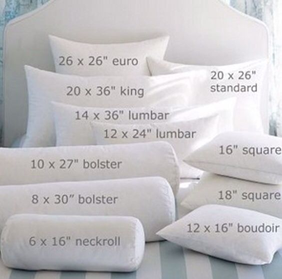 Guide To Pillow Types And Sizes Design Guides