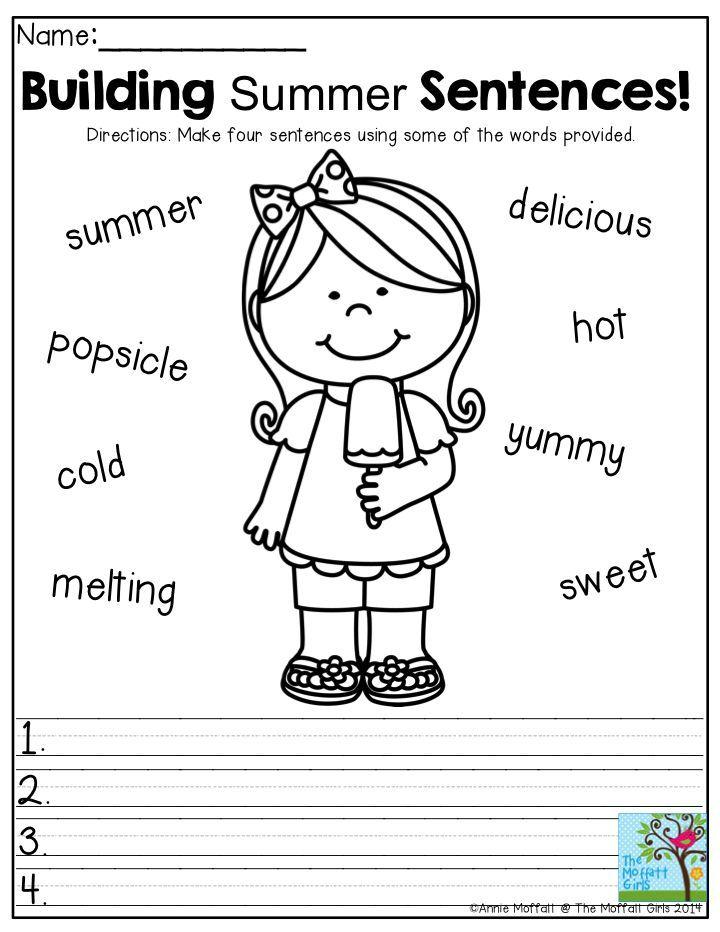Building Summer Sentences- Make four sentences using some of the ...
