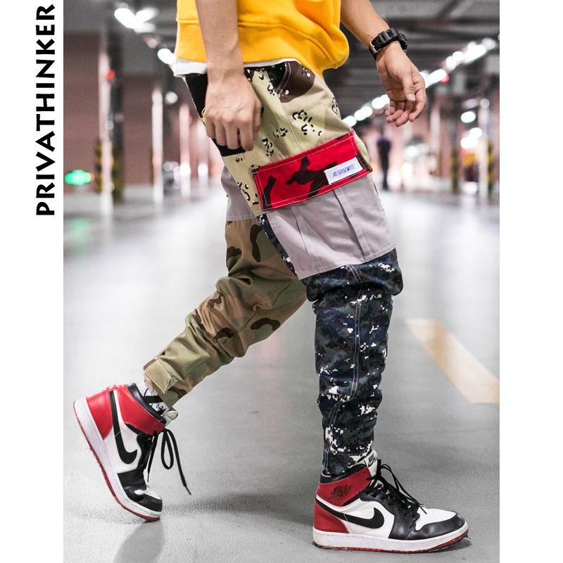 Privathinker Designer Cargo Camo Pants Men 2018 Mes Streetwear