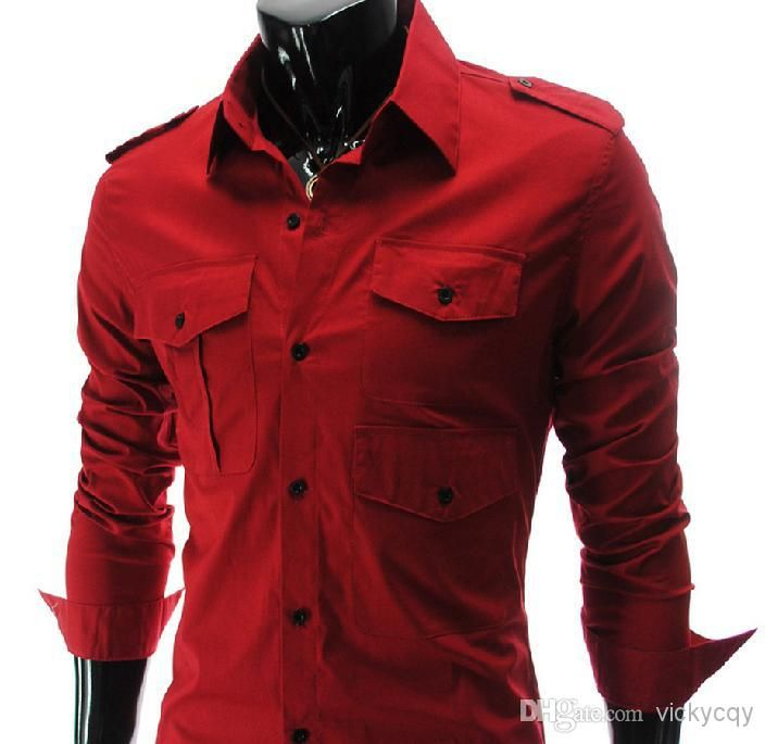 Wholesale --New men's REd shirt Fashion Style Mens Luxury Casual ...