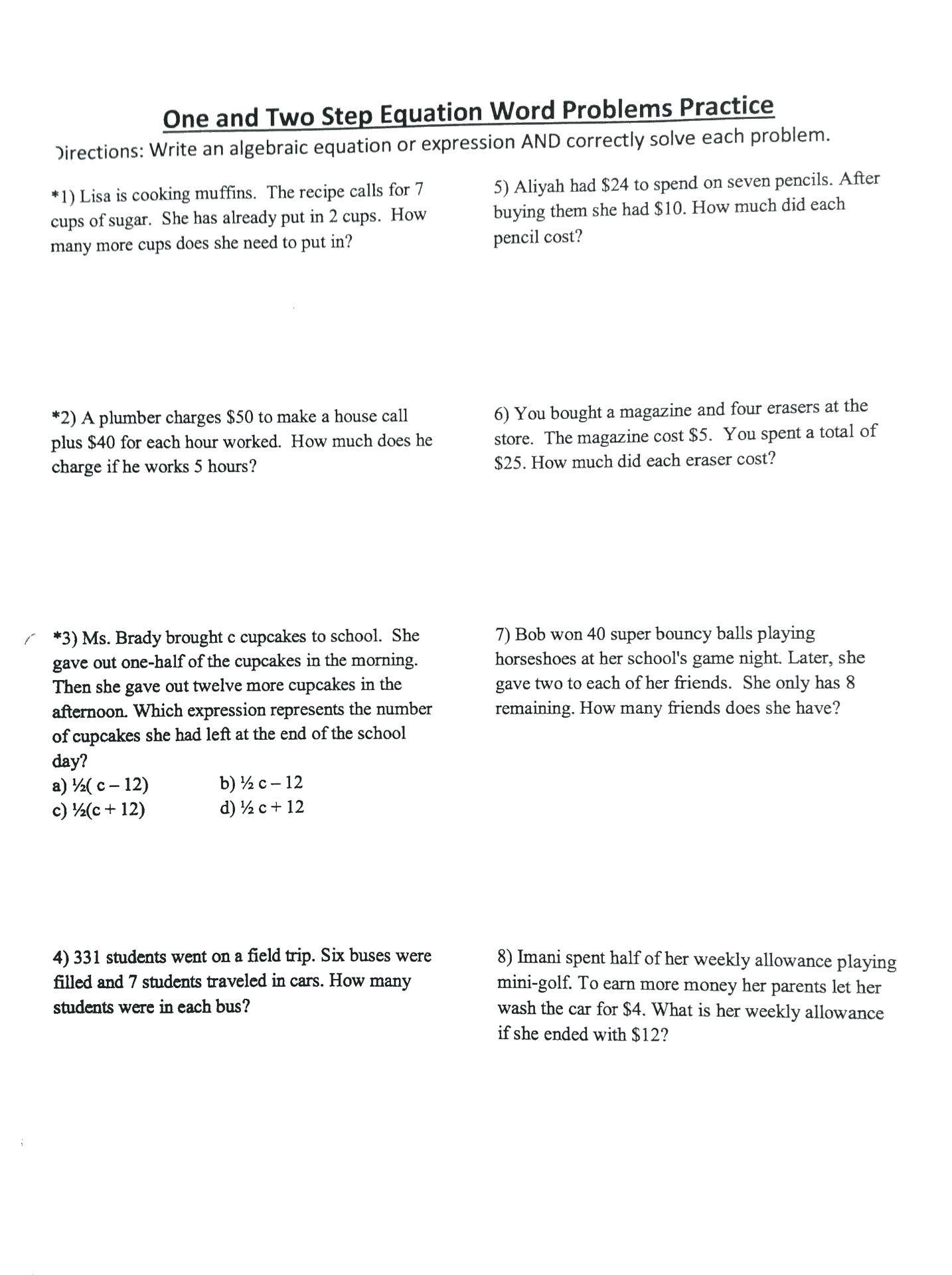 Kindergarten Subtraction Word Problems Worksheets