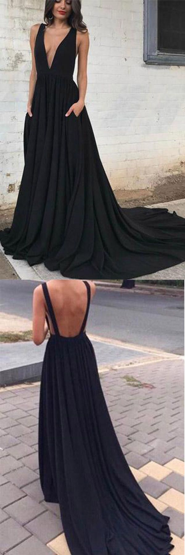 Simple black chiffon backless deep v neck a line long prom dress