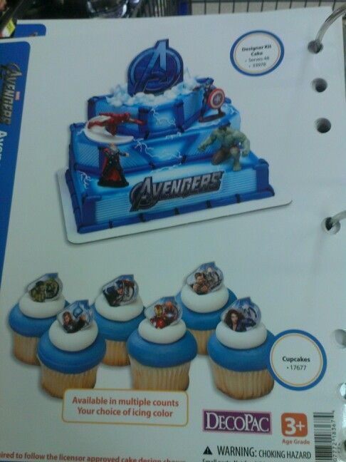 Walmart avengers multilevel cake and cupcakes Raydens 3rd