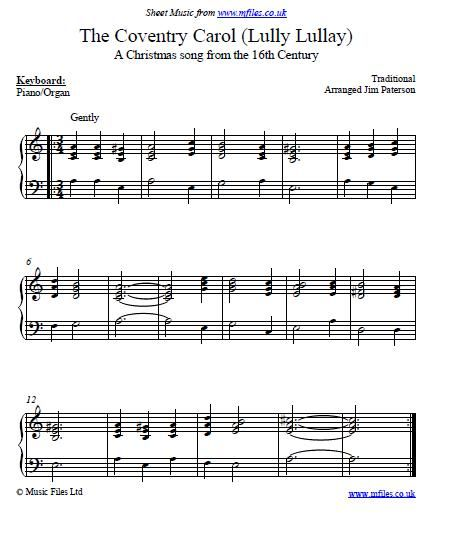 A Coventry Carol - old Christmas Carol, sometimes sung as a lullaby