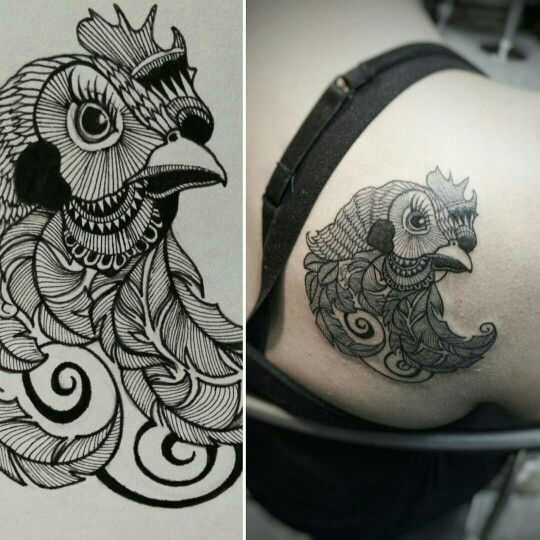 Red Ink Homemade Tattoo Designs On Arms photo - 1 ... |Cute Chicken Tattoos