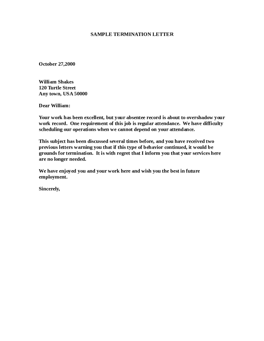 Termination Letter Sample How Write Templates Free Example Format