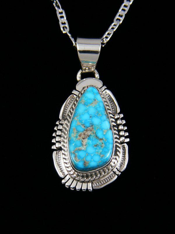 Navajo Sterling Silver Kingman Turquoise Pendant