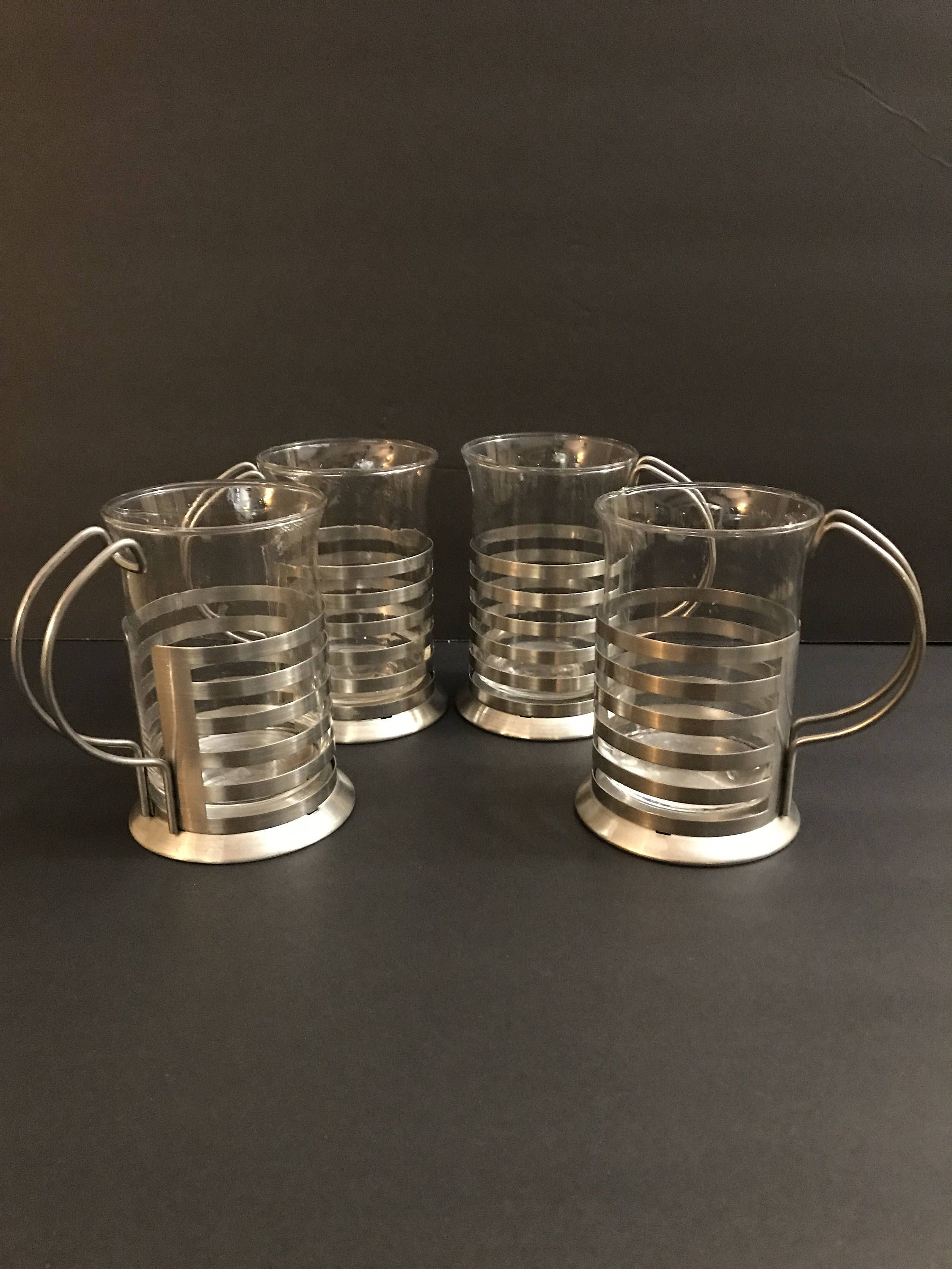 Vintage Yet Modern Glass Cup In Holder Aluminum Chrome Metal Holders Blown Glass Cups Gift Soniacollectibles By Glass Cup Modern Glass Vintage Glasses