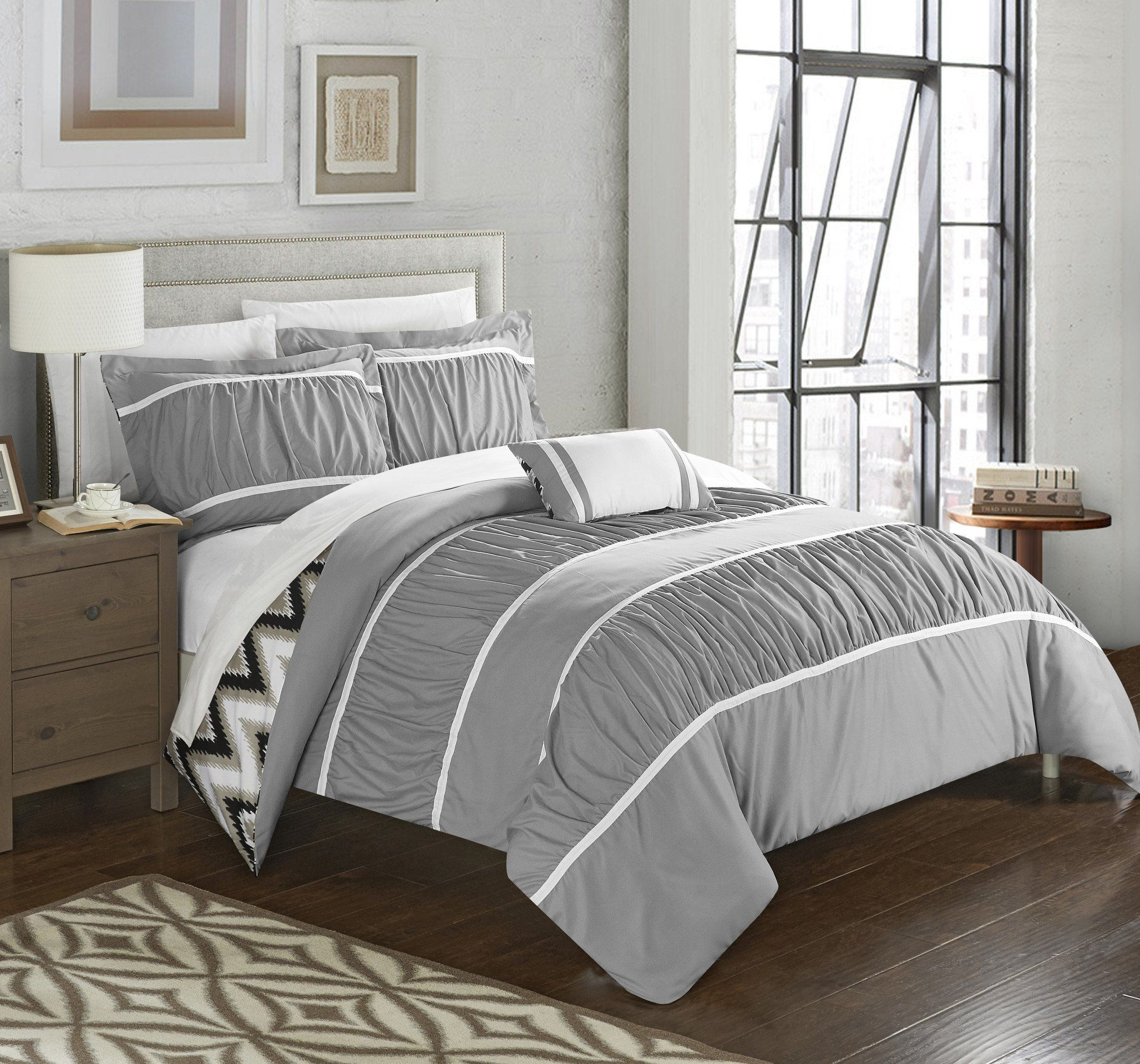 Chic Home Bella 8 Piece Comforter Set Reversible Ruffled Pleated