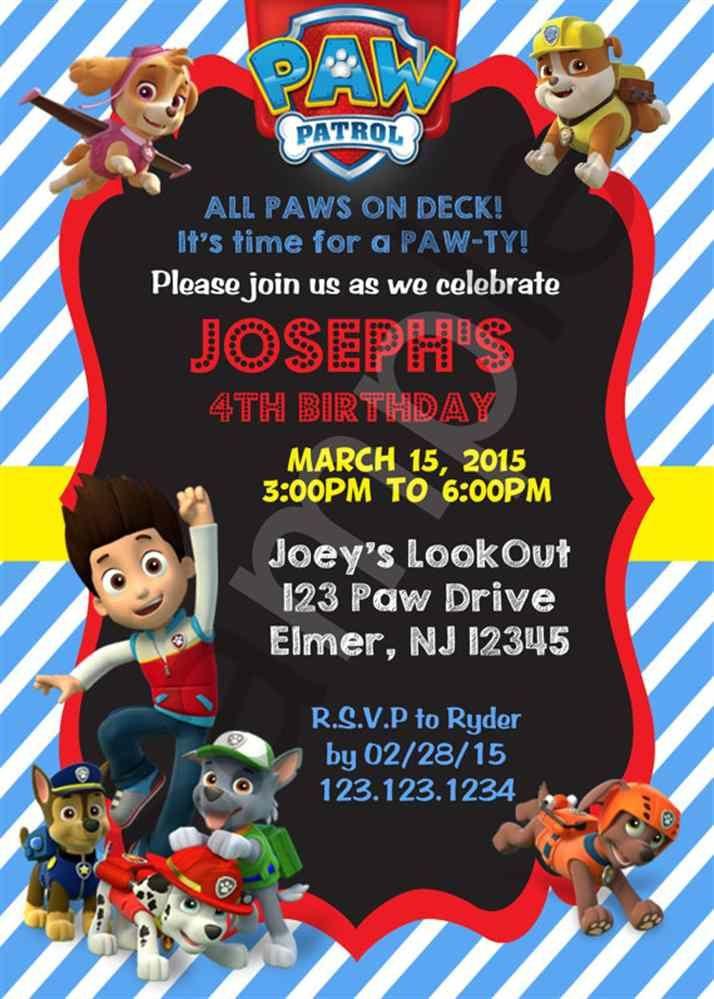 Paw Patrol Birthday Invitation Digital File