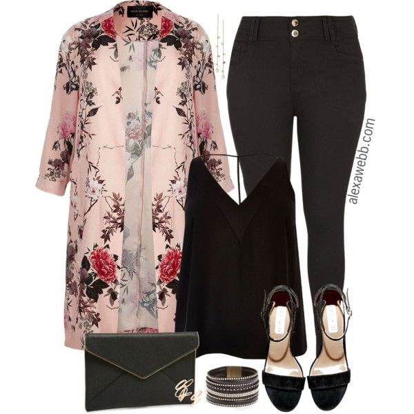 01654b0cb0d9a Plus Size Floral Duster - alexawebb.com by alexawebb on Polyvore featuring  River Island