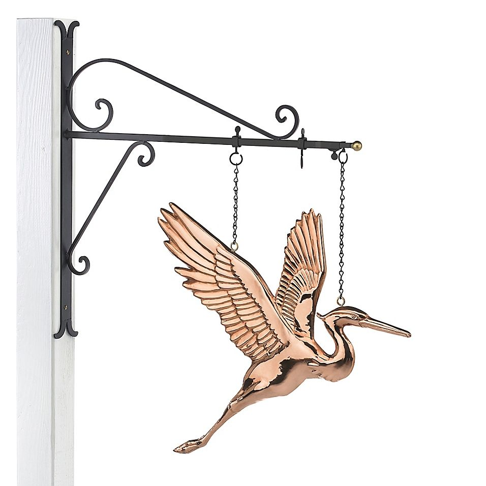 Good directions blue heron hanging wall sculpture in pure