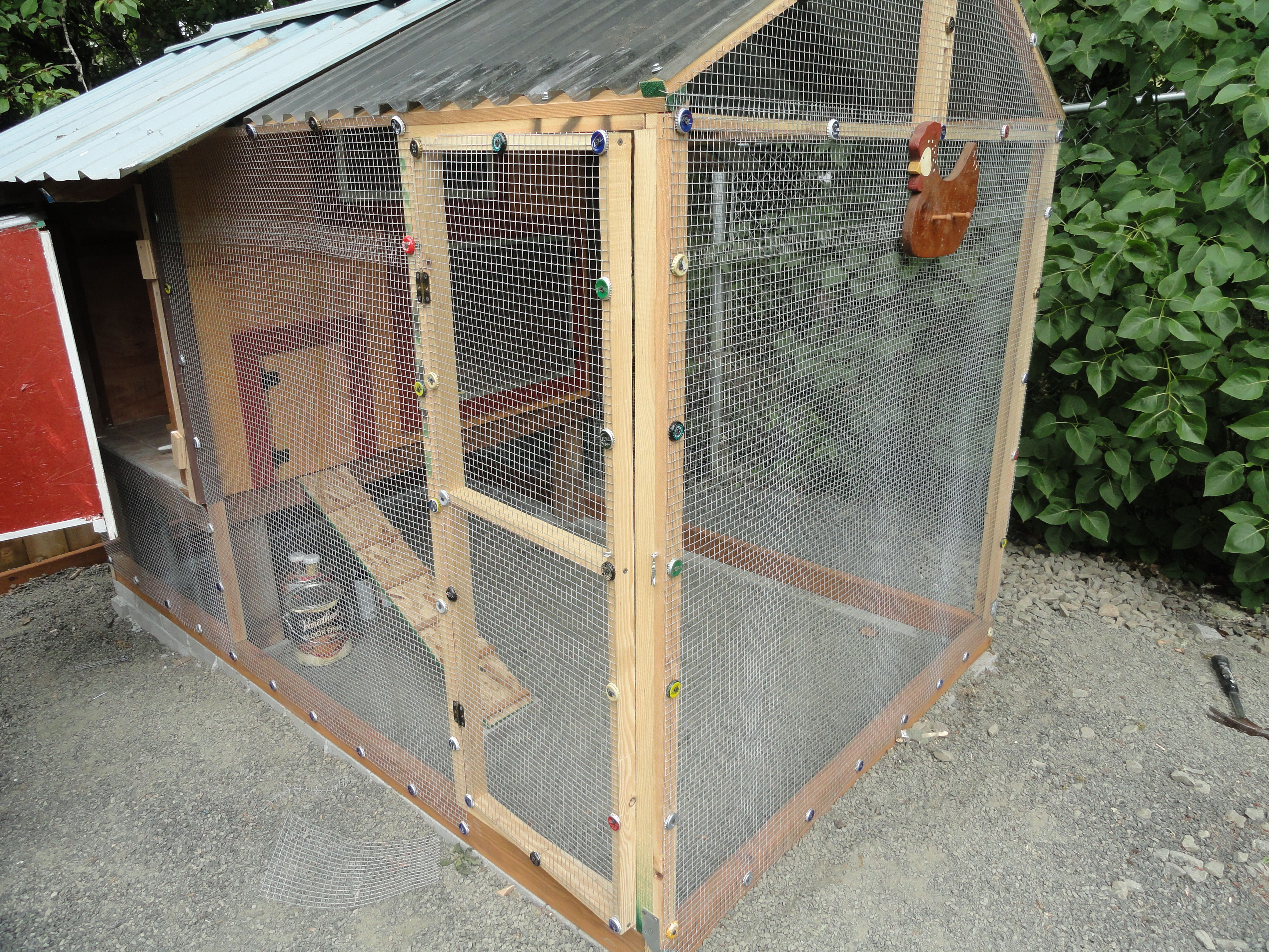 My Chicken Coop, used recycled material even bottle caps for washers ...