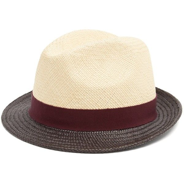 4ba2cee4218 Prada Tri-colour straw hat ( 580) ❤ liked on Polyvore featuring men s  fashion
