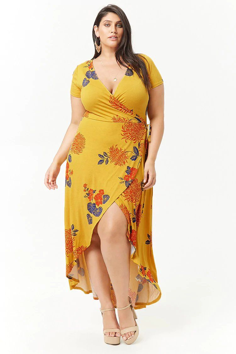 Product Name Plus Size Floral Mock Wrap Maxi Dress 99b2a39e8