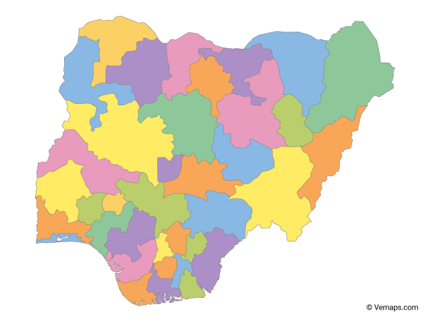 Multicolor Map Of Nigeria With States Free Vector Maps Map Of Nigeria Map Vector Vector Free