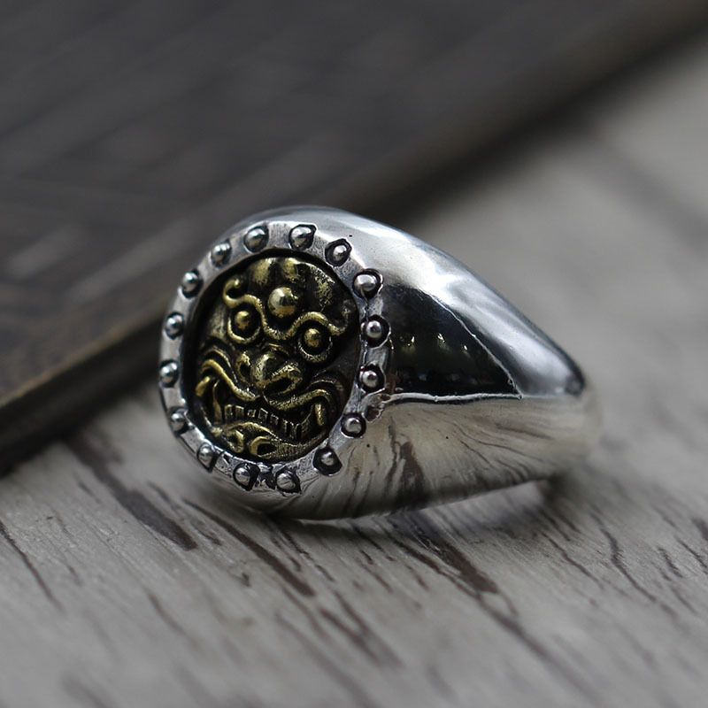 Retro Brass Beast Face men's Ring S925 Sterling Silver Jewelry Personalized Carved Open Ring
