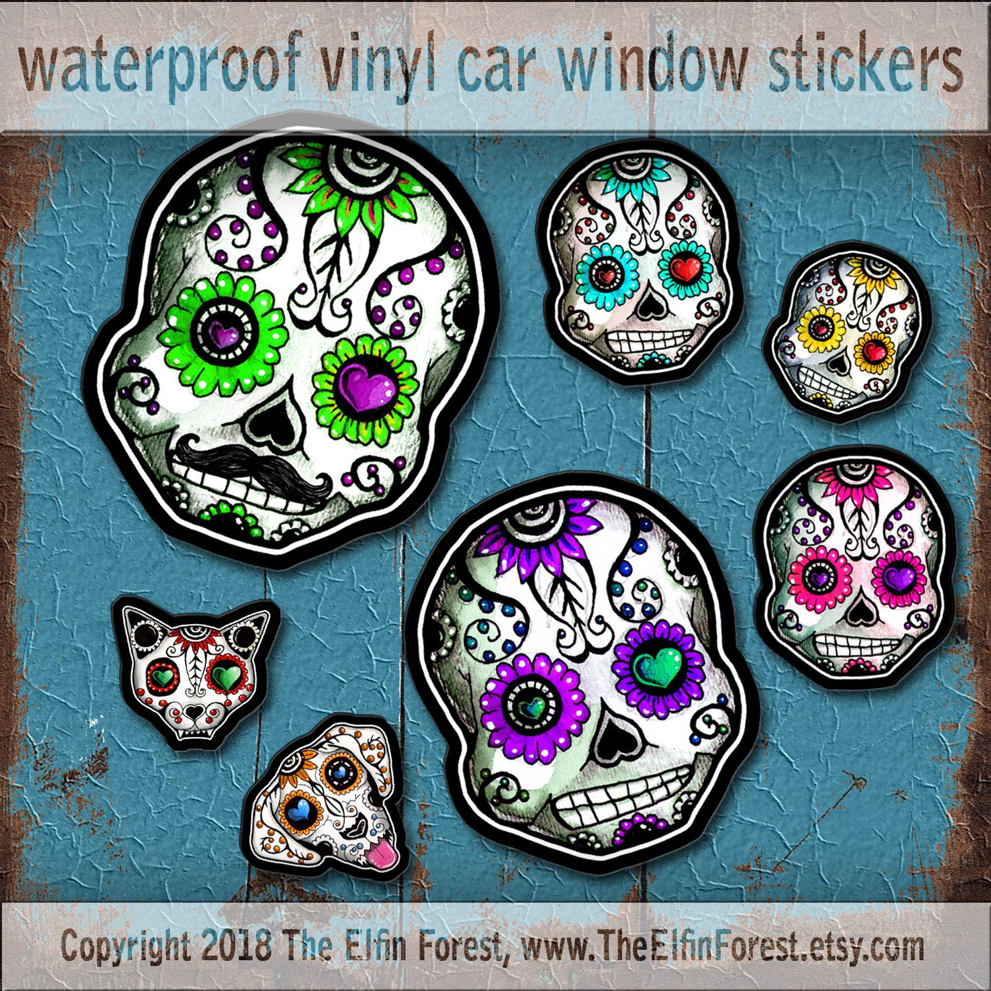 Sugar Skull Family Car Decal Sticker Set Day Of The Dead Etsy Sugar Skull Car Window Stickers Sticker Set [ 2000 x 2000 Pixel ]