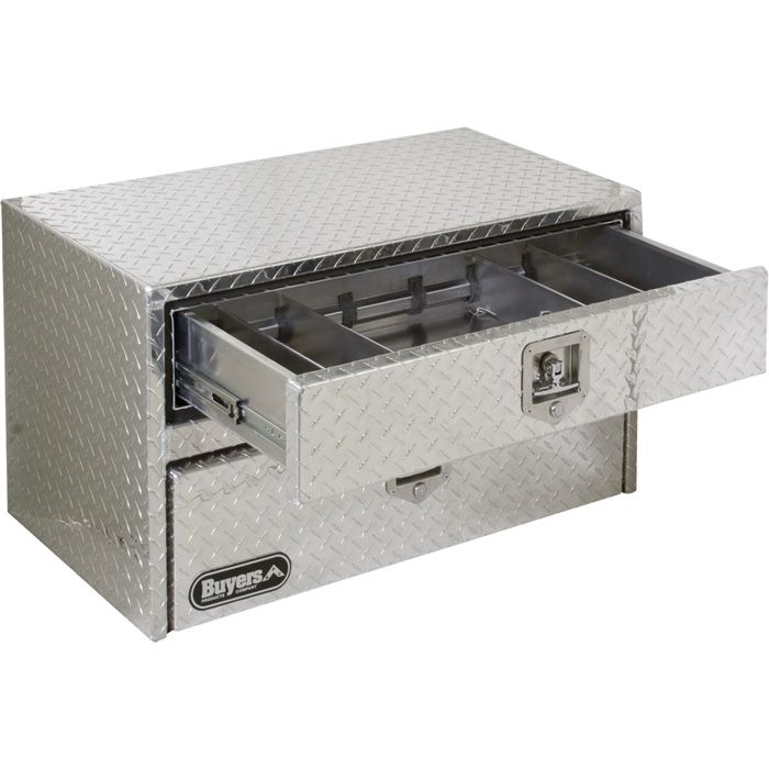 Buyers Products Aluminum Underbody Truck Box With Drawer Diamond Plate 36in L X 18in W X 20in H Model 1712205 Truck Tool Box Tool Box Underbody Tool Box