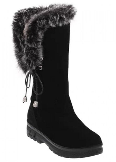 Stylish Faux Fur and LaceUp Design MidCalf Boots For Women