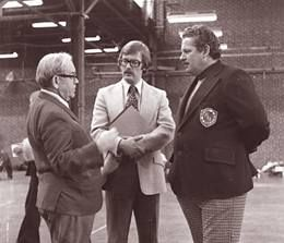 The Archery Hall of Fame - Clayton Shenk, Peter Smith and PAA President, Les Brown at Harrisburg, PA Farm Show Tournament in1974