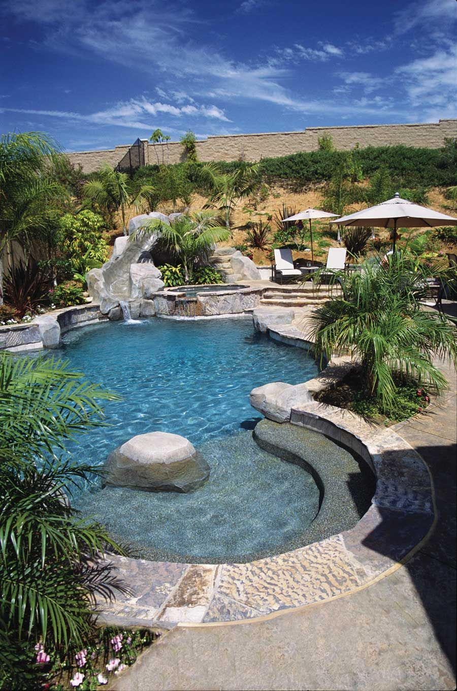 Pool with water slide outdoor swimming pools pool for Pool design hours