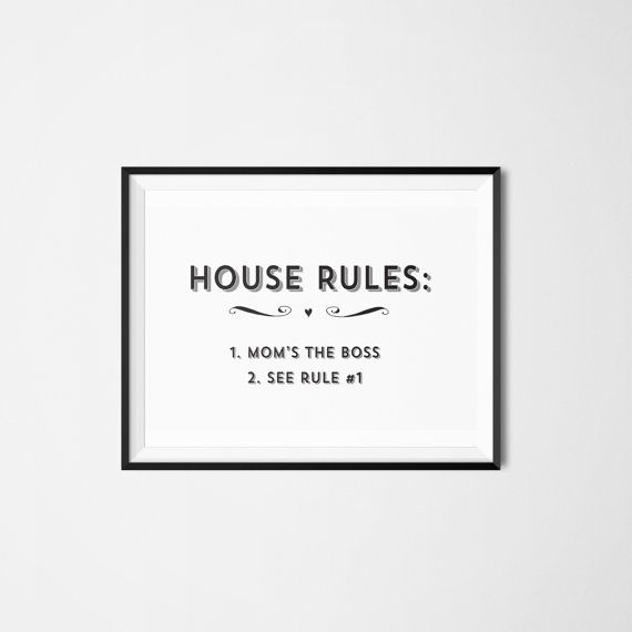 House Rules Mom S The Boss Funny Mother S Day By Hopealittle 9 50