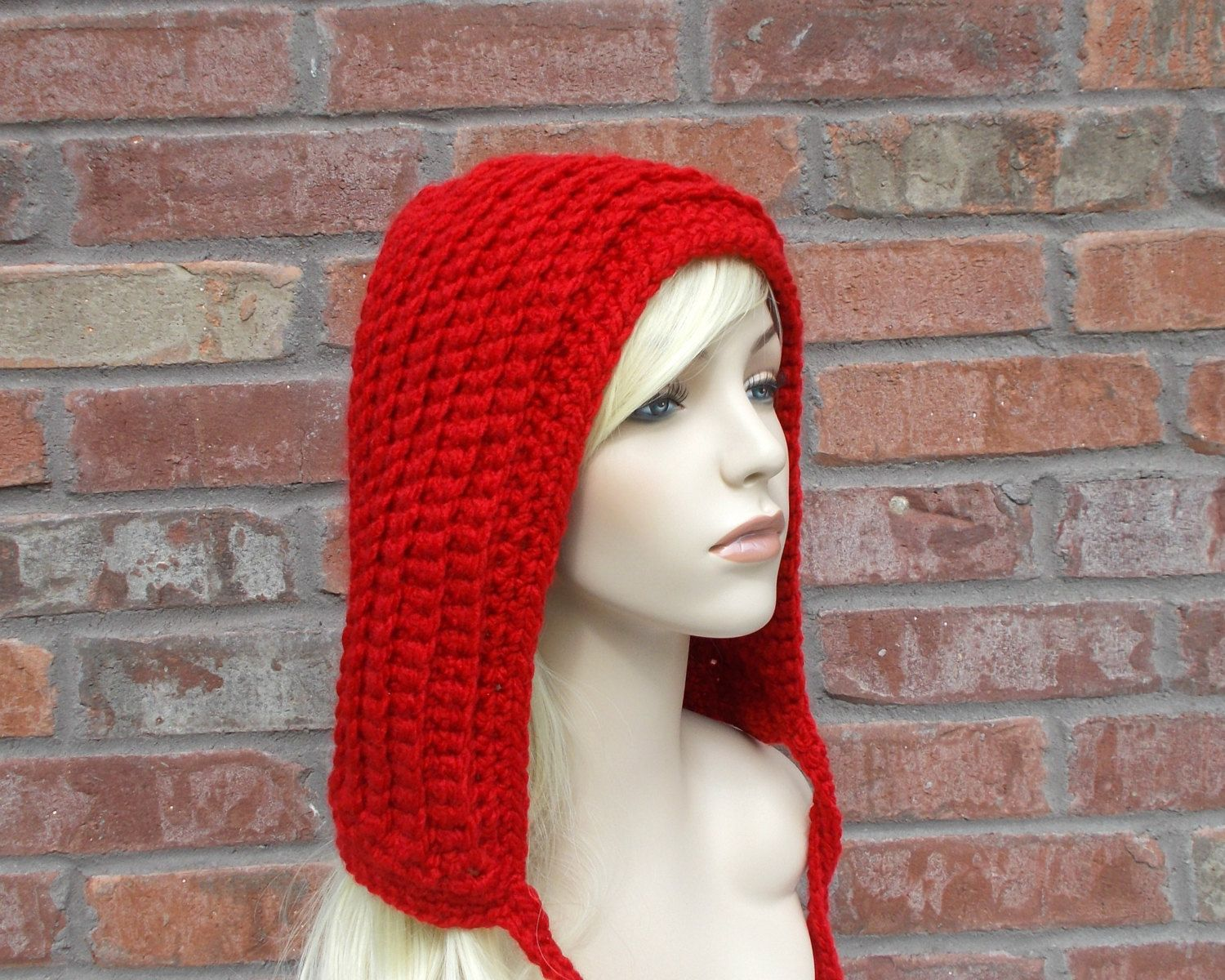 Red Hood, Red Hat, Winter Accessories, Red Winter Hat, Hood Hat ...