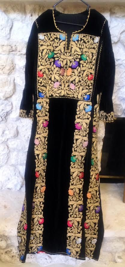 8972bd37dc1 Vintage Palestinian Thobe Dress with Gold and Multicolored Handmade Silk  Embroidery Thread on Black Velvet