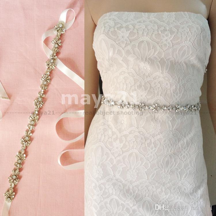 Belt Wedding Gl Beads Bridal High Quality And Opaline Crystal Self Tie Sparked Skinny Sash Embellish Belts