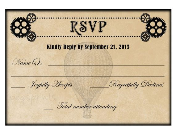 Proper Way To Stuff Wedding Invitations: Steampunk Wedding Invitation And RSVP Card Printable By