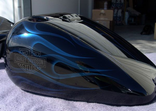 Black Blue Pearl Ghost Flames Custom Motorcycle Paint Jobs