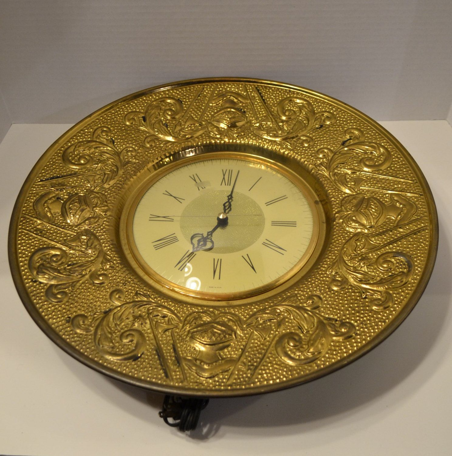 Mid Century Sessions Wall Clock Brass Vintage Electric PanchosPorch ...