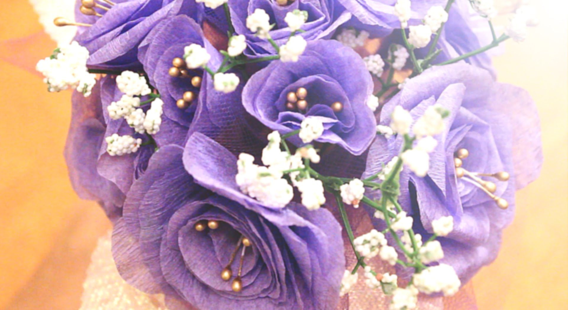 Lavender themed wedding decor  DIY  How to Make Lavender Purple Crepe Paper Flowers in Under