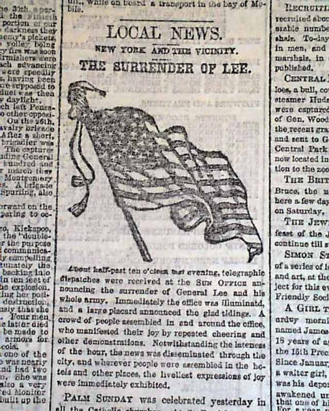 Historic Newspaper covering the surrender of General Robert E Lee - newspaper