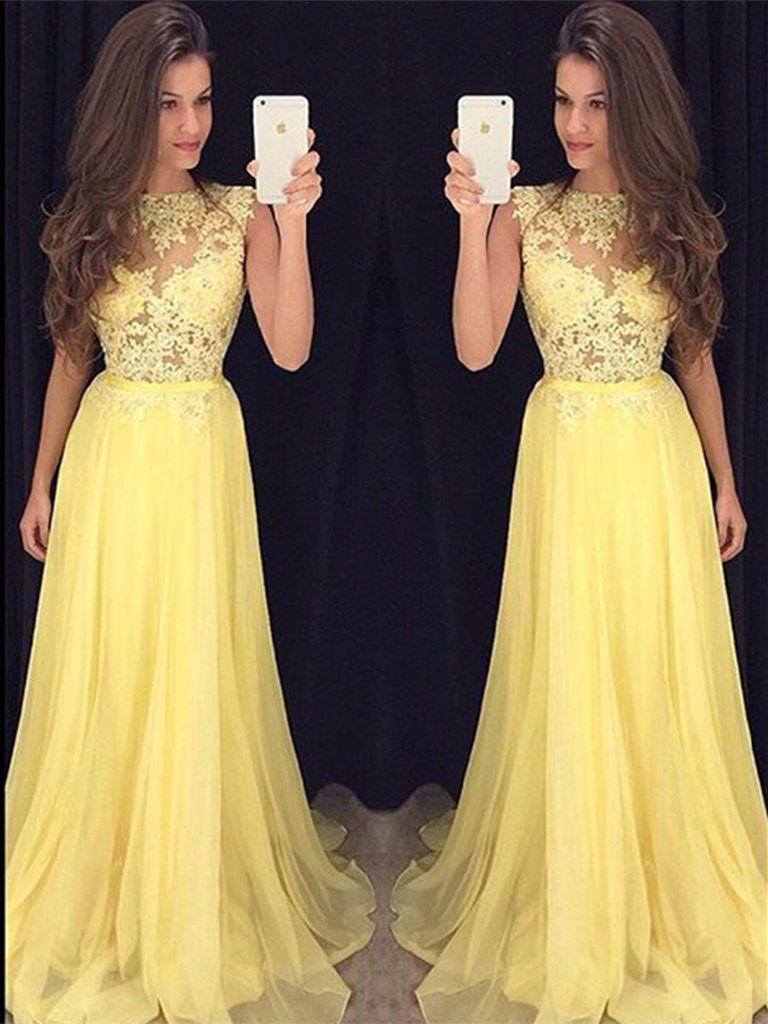 A line round neck yellow lace prom dresses yellow lace graduation