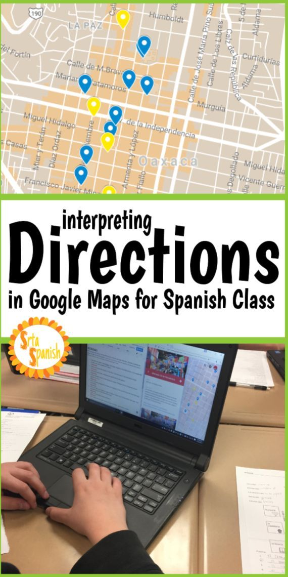 interpreting directions google maps for spanish class foreign language activities. Black Bedroom Furniture Sets. Home Design Ideas