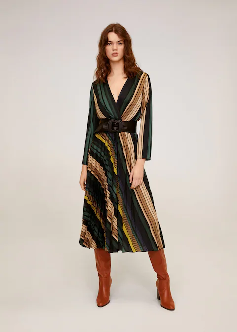 Photo of Striped midi dress –  Women | Mango USA
