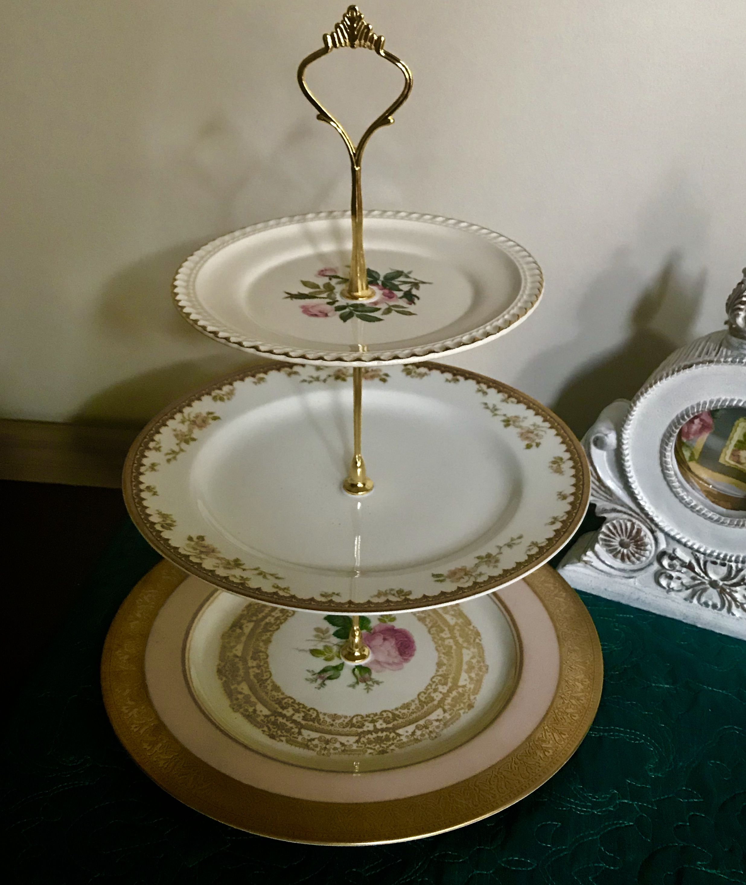 3tier cake stand pink roses gold tiered cake stand 3