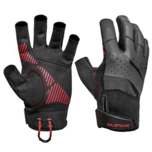 Mustang Traction Open Finger Glove - Black/Red - Medium